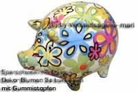 Sparschwein Design Dekor weiß bunte Blüten Keramik klein Spardosenstopfen Maße: ca.: L= 13 cm - Bild vergrößern
