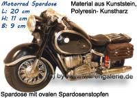 Spardose Motorrad schwarz/ bunt aus Kunststein mit Spardosenstopfen Maße ca.: L= 20 cm - Bild vergrößern