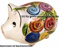 Sparschwein Blumendekor bunt modernes Blumendesign mit einem Spardosenschloss Maße ca.: L= 18 cm - Bild vergrößern