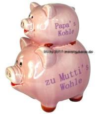 Sparschwein Papa`s Kohle zu Mutti`s Wohle rosa mit Spardosenstopfen Gummstöpsel Maße ca.: L= 17,5 cm - Bild vergrößern