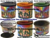 Ovalspardose Party Time Farbvariante auswählen mit Spardosenschloss & Schlüssel Maße ca.: B= 10 cm - Bild vergrößern