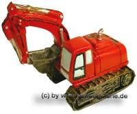 Schaufelbagger rot Spardose aus Kunststein mit herausdrehbaren Verschluss Maße ca.: L= 18,5 cm - Bild vergrößern