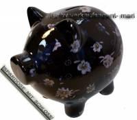 Sparschwein Dekor Blumen schwarz mit weiß/ bunten Blüten Keramik und Schloss Maße ca.: L= 20 cm  - Bild vergrößern