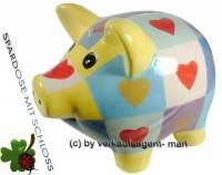 Sparschwein mit Herzdekor gelb bunt Keramik mit Spardosenschloss und Schlüssel Maße ca: 17 cm - Bild vergrößern
