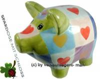 Sparschwein mit Herzdekor grün/ bunt Keramik mit Spardosenschloss und Schlüssel Maße ca: 17 cm - Bild vergrößern
