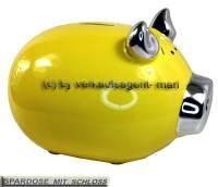 Sparschwein Silberohr gelb mit Silber- Chrom- Spiegeleffekt und Spardosenschloss Maße ca.: L= 19 cm - Bild vergrößern