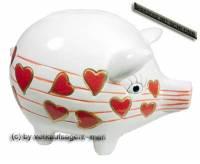 Sparschwein Design Herzen weiß/ rot Keramik & Spardosenchloss Maße ca: 16 cm ! Sonderverkauf ! 210a - Bild vergrößern