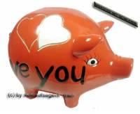 Sparschwein Design Herzen rot -I love you- Keramik mit Spardosenschloss & Schlüssel Maße ca: 16 cm - Bild vergrößern
