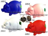 Sparschwein mit Kleeblatt Variante A Kunststoff Farbe wählen mit Spardosenschloss Maße ca.: L= 17 cm - Bild vergrößern