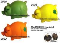 Sparschwein mit Kleeblatt Variante B Kunststoff Farbe wählen mit Spardosenschloss Maße ca.: L= 17 cm - Bild vergrößern
