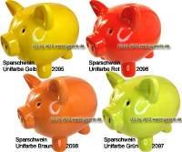 Sparschwein Unifarbe Keramik Farbvariante wählen mit Spardosenschloss & Schlüssel Maße ca.: L= 21 cm - Bild vergrößern