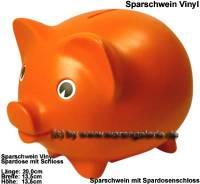 Sparschwein Vinyl Orange Groß mit großen Spardosenschloss & Spardosenschlüssel Maße ca.: L= 20 cm - Bild vergrößern