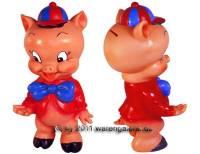 Spardose Sparschwein Schweinchen mit Hut und Fliege aus weichem Kunststoff Maße ca.: H= 20 cm - Bild vergrößern