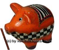 SPARSCHWEIN ART- DESIGN 4 aus Keramik mit Spardosenschloss und Spardosenschlüssel Maße ca.: L= 17 cm - Bild vergrößern
