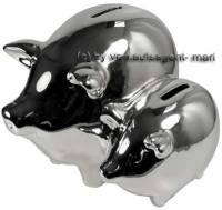 Doppel- Sparschwein Silber mit Spiegel- Effekt Keramik mit Spardosenstopfen Maße ca.: L= 18 cm - Bild vergrößern