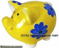 Sparschwein Dekor Blumen gelb Keramik mit Spardosenschloss und Schlüssel Maße ca.: L= 16 cm - Bild vergrößern