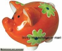 Sparschwein Dekor Blumen orange Keramik mit Spardosenschloss und Schlüssel Maße ca.: L= 16 cm - Bild vergrößern