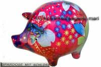 Sparschwein Design Dekor rot mit bunten Blüten Keramik mit Spardosenschloss Maße ca.: L= 17 cm - Bild vergrößern