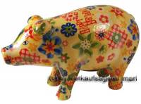 Sparschwein Sau Happy Birthday bunt Keramik mit Spardosenschloss und Schlüssel Maße ca.: L= 23,5 cm - Bild vergrößern