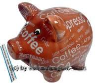 Sparschwein mit Kaffeedekor Design 2 braun Keramik mit Spardosenschloss und Schlüssel Maße ca: 17 cm - Bild vergrößern