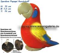 Spardose Papagei mit Spardosenschloss und Metall- Spardosenschlüssel Maße ca.: H= 15 cm - Bild vergrößern