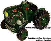 Trecker Traktor Peace Spardose grün Kunststein mit Gummistopfen Maße ca.: L= 15 cm - Bild vergrößern