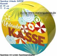 Spardose Urlaubs KASSE Design- Motiv Sonnenschirme & Blumen gelb/ bunt Maße ca.: H= 13,5 cm - Bild vergrößern