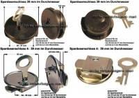 Spardosenschloss Set 1: 39mm Schlösser 2 Stück Maße: Ø= 39 mm - Bild vergrößern