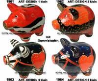 Sparschwein Art- Design klein wählen Keramik mit Gummistopfen, Spardosenstopfen Maße ca.: L= 13 cm - Bild vergrößern