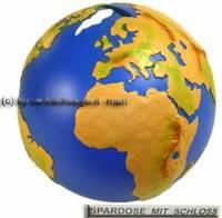 Spardose Weltkugel mit Spardosenchloss Kunststoff und Spardosenschlüssel Maße ca.: Ø= 12 cm - Bild vergrößern