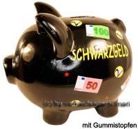 Sparschwein Aufschrift Schwarzgeld Keramik mit Spardosenstopfen Stöpsel Maße ca.: L= 20 cm - Bild vergrößern