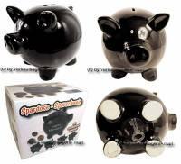 Sparschwein Blacky 2 Aufschrift wählen Keramik mit Spardosenschloss & Schlüssel Maße ca.: L= 16,5 cm - Bild vergrößern