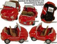 Auto Cabrio rot Spardose aus Kunststein mit Spardosenverschluss Maße ca.: L= 15 cm - Bild vergrößern