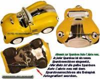 Spardose Auto Cabrio gelb Keramik mit Spardosenschloss und Schlüssel Maße ca.: L= 20 cm - Bild vergrößern