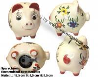 Sparschwein mit Dekor Blumen klein weiß Keramik mit Spardosenschloss Maße ca.: L= 12,5 cm - Bild vergrößern