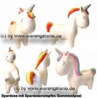 Spardose Einhorn extra groß Farbe weiß / Regenbogenfarben mit Spardosenstopfen Maße ca.: L= 24,5 cm - Bild vergrößern