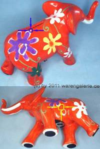 Spardose Elefant Blumen orange Keramik mit Spardosenschloss Maße ca.: L= 22 cm ! Sonderverkauf ! 52a - Bild vergrößern