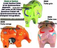 Spardose Elefant Farbe auswählen Keramik mit Spardosenschloss & Schlüssel Maße ca.: L= 19 cm - Bild vergrößern