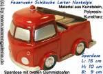 Spardose Feuerwehrauto Schläuche Leiter Nostalgie Kunststein mit Spardosenstopfen Maße ca.: L= 15 cm