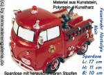 Spardose Feuerwehrauto Nostalgie klein Kunststein mit Spardosenverschluss Maße ca.: L= 17 cm