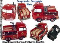 Spardose Feuerwehrauto Nostalgie klein Kunststein mit Spardosenverschluss Maße ca.: L= 17 cm - Bild vergrößern