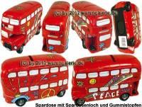 Spardose Auto Bus Doppeldecker London PEACE Kunststein mit Gummistopfen Maße ca.: L= 18 cm - Bild vergrößern