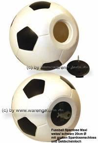Großspardose Fußball weiß/ schwarz mit großen Spardosenschloss Maße ca.: D=  20 cm - Bild vergrößern