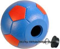 Spardose Fußball blau/ rot mit Spardosenschloss und Spardosenschlüssel Maße ca.: Ø= 15,5 cm - Bild vergrößern
