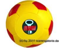 Spardose Fußball gelb/ rot mit Spardosenschloss und Spardosenschlüssel Maße ca.: Ø= 15,5 cm - Bild vergrößern