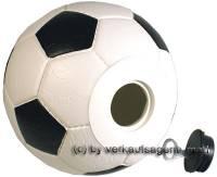 Spardose Fußball weiß/ schwarz mit einem Spardosenschloss & Spardosenschlüssel Maße ca.: Ø= 15,5 cm - Bild vergrößern
