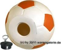 Spardose Fußball weiß/ orange mit Spardosenschloss und Spardosenschlüssel Maße ca.: Ø= 15,5 cm - Bild vergrößern
