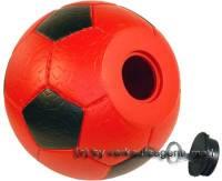 Spardose Fußball rot/ schwarz mit Spardosenschloss und Spardosenschlüssel Maße ca.: Ø= 15,5 cm - Bild vergrößern