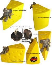 Spardose Käse & Maus Kunststoff mit Spardosenschloss und Spardosenschlüssel Maße ca.: L= 14 cm - Bild vergrößern