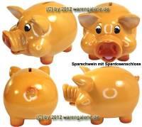 Lustiges Sparschwein mit Backen hellbraun aus Kunststein mit Spardosenschloss Maße ca.: L= 17 cm - Bild vergrößern